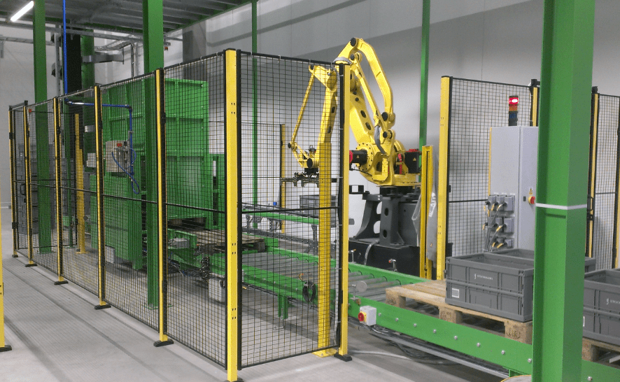 Robot used with pallet stacking